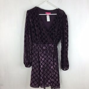 Betsey Johnson Purple Velvet Polka Dot Dress